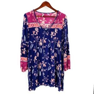 Billabong Blue & Pink Floral Print Dress